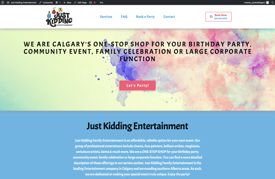 Website of Just Kidding Entertainment